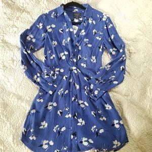 A&F Blue Floral Shirtdress NWT